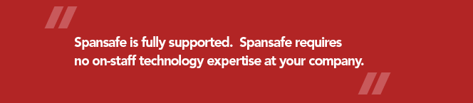 Spansafe is fully supported and requires no on-staff technology expertise at your company.